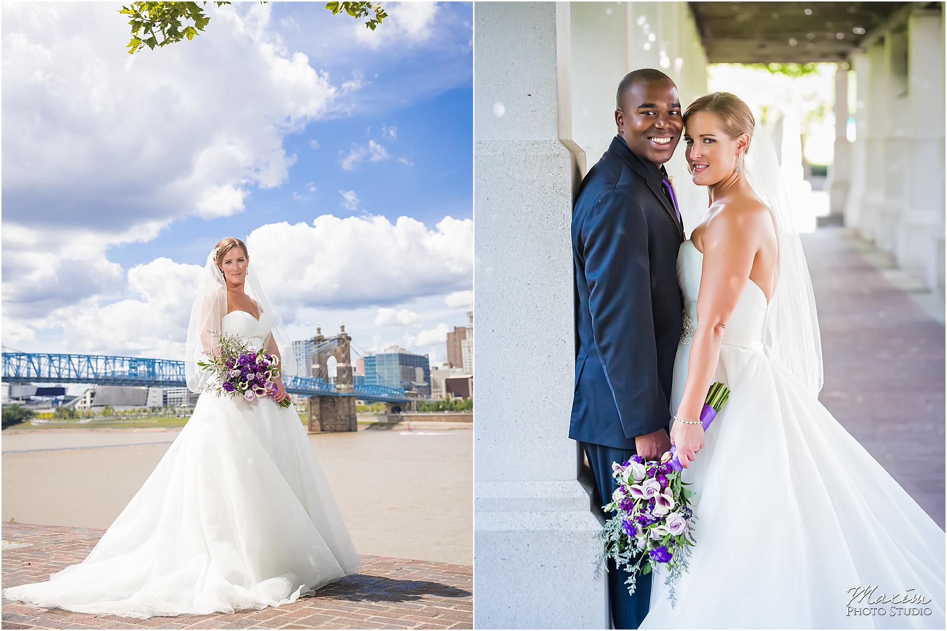 Cincinnati Skyline purple flowers bride