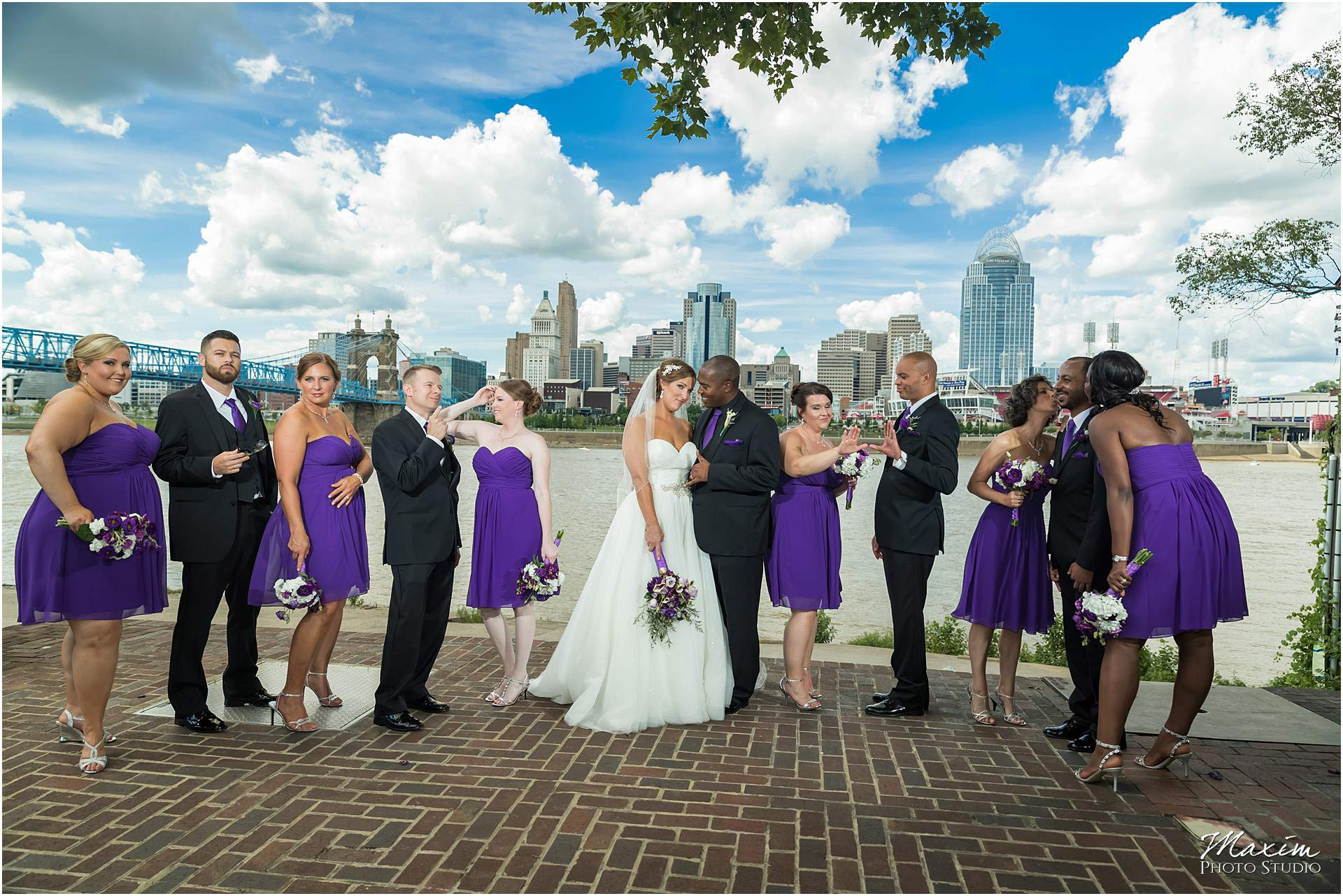 Cincinnati Skyline purple dress bridal party