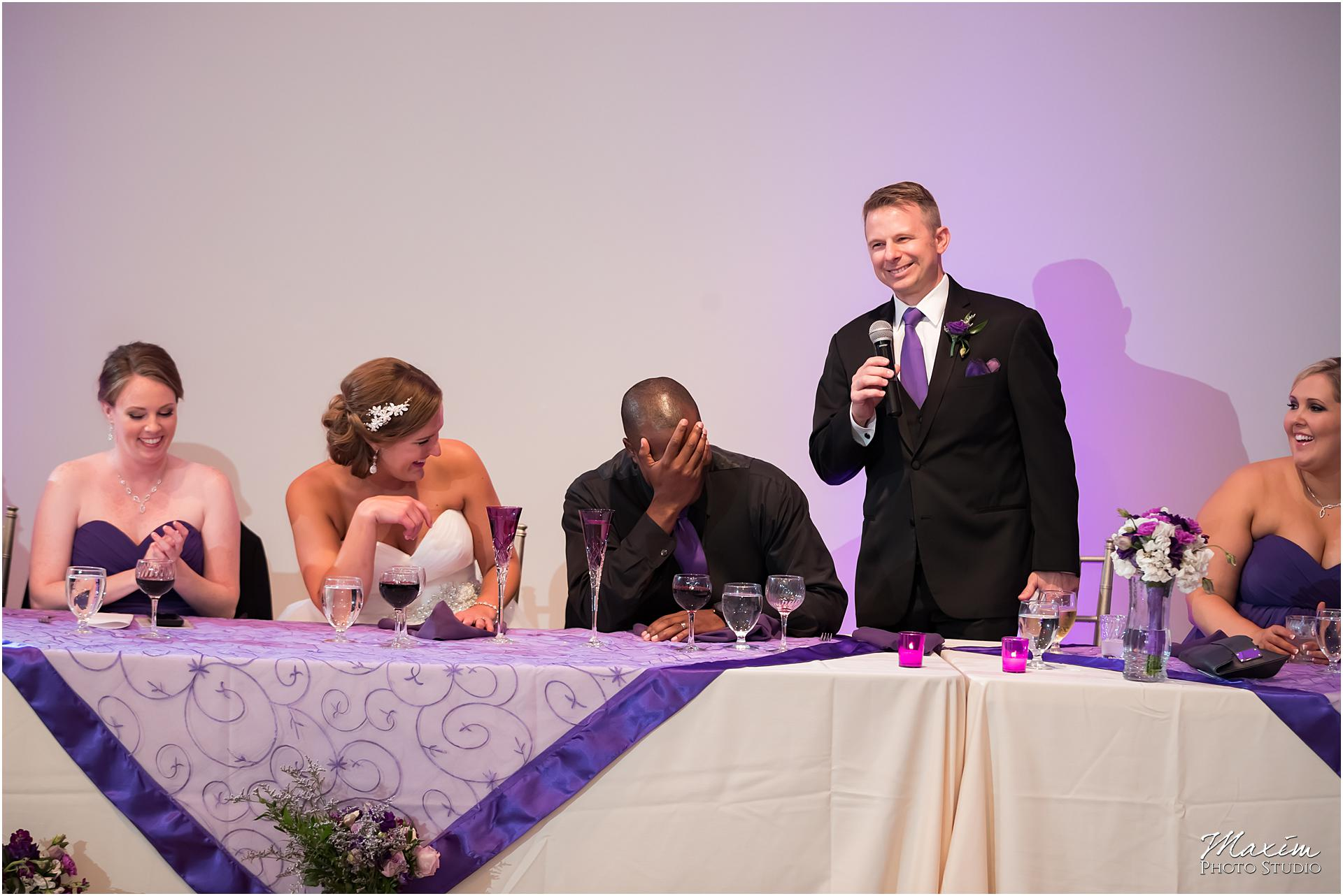 The Center Cincinnati Wedding Reception toast