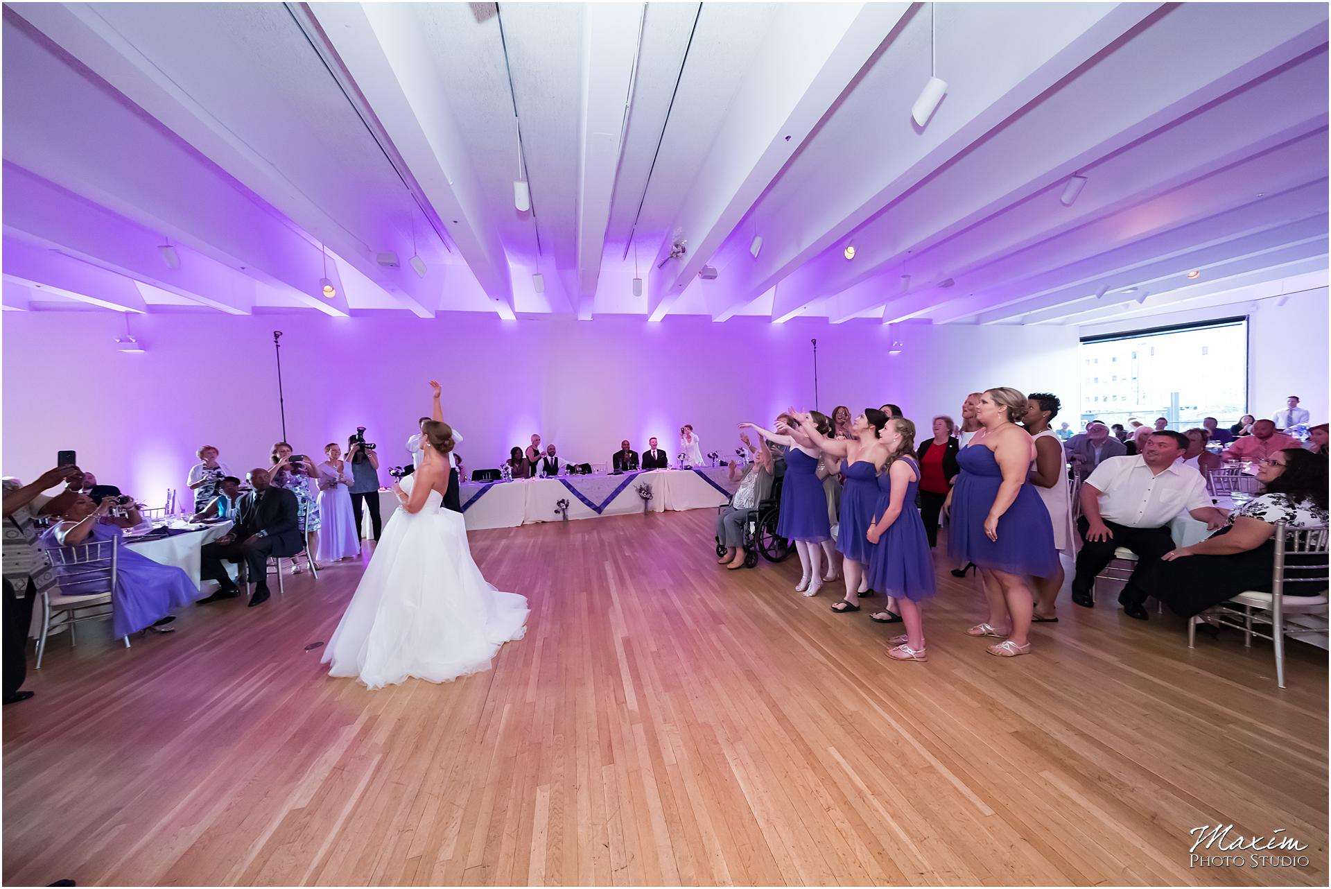 The Center Cincinnati Wedding Reception Bouquet toss