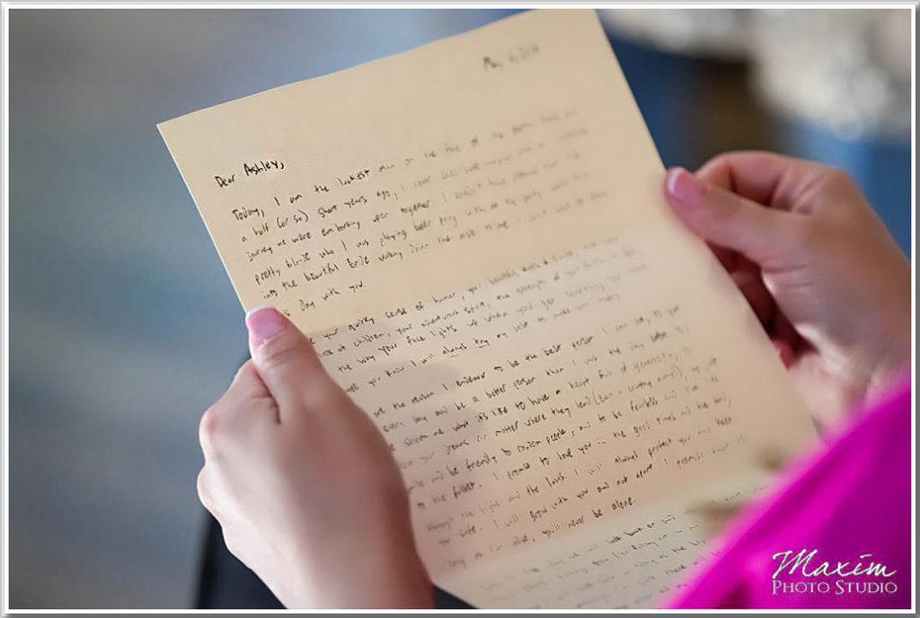 Ault Park Cincinnati Wedding groom letter