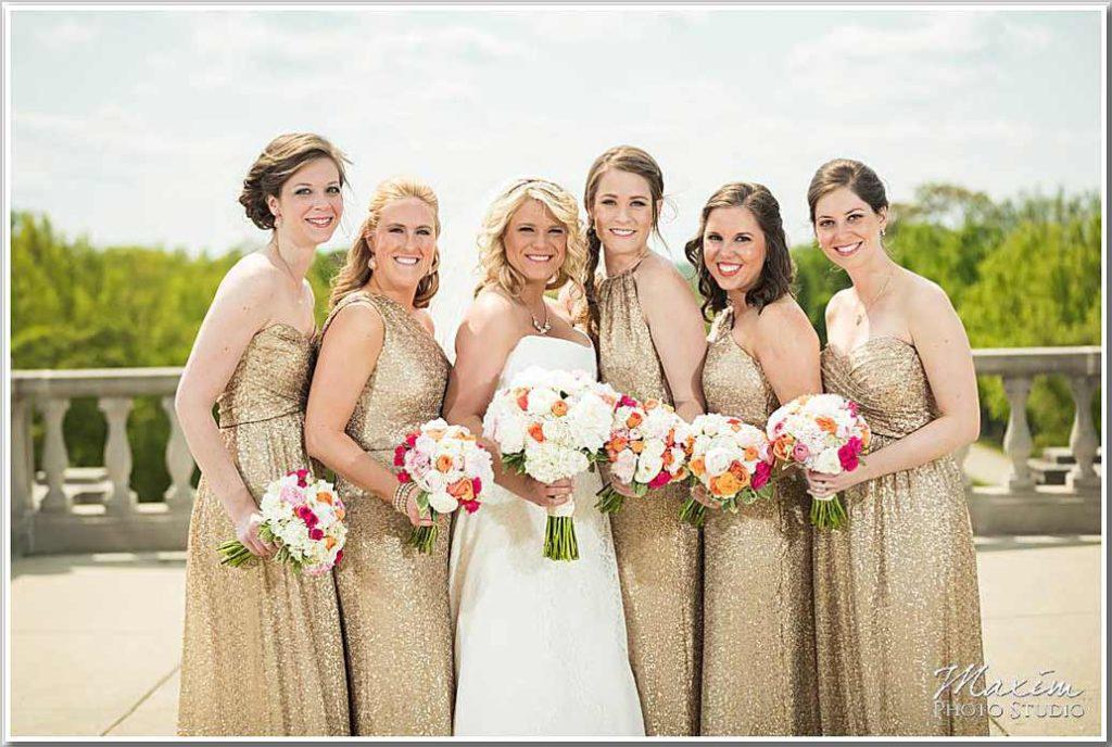 Ault Park Cincinnati bridesmaids wedding flowers