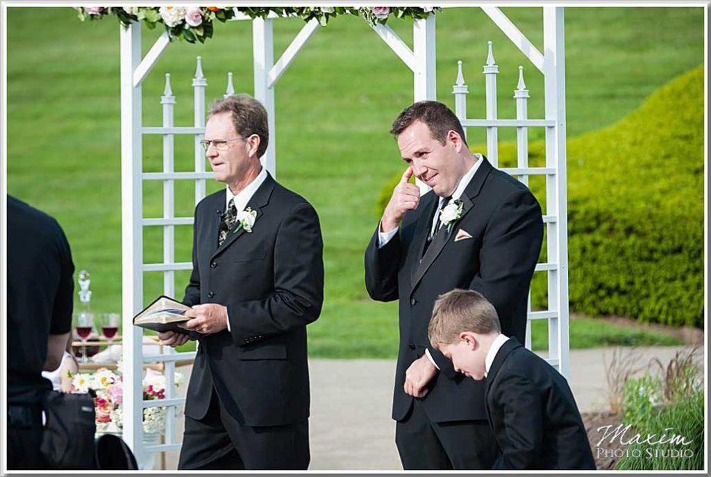 Groom crying Ault Park Cincinnati Wedding