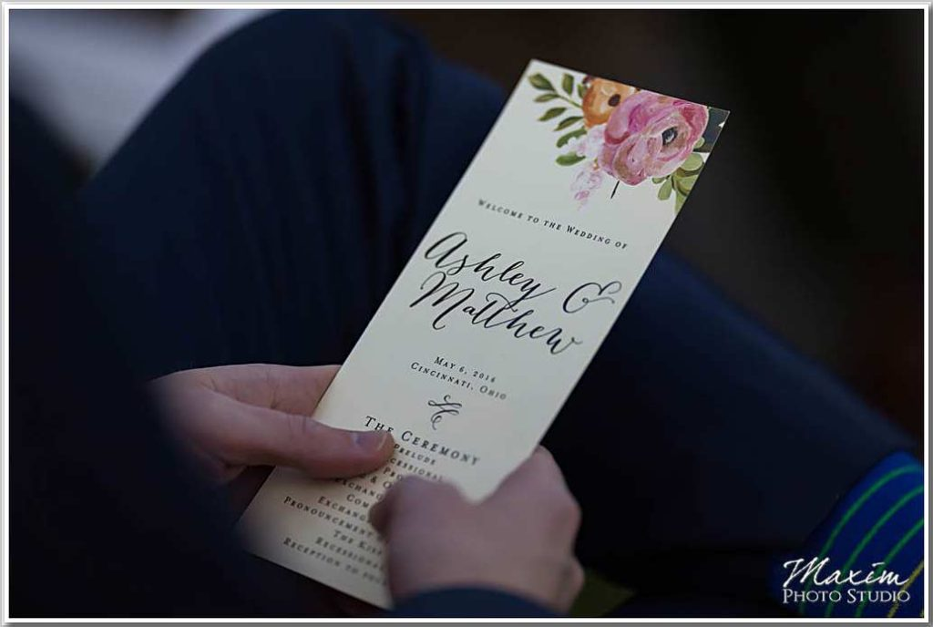 Wedding Program Ault Park Cincinnati