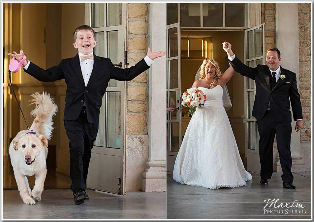 Ault Park reception entrance bride groom