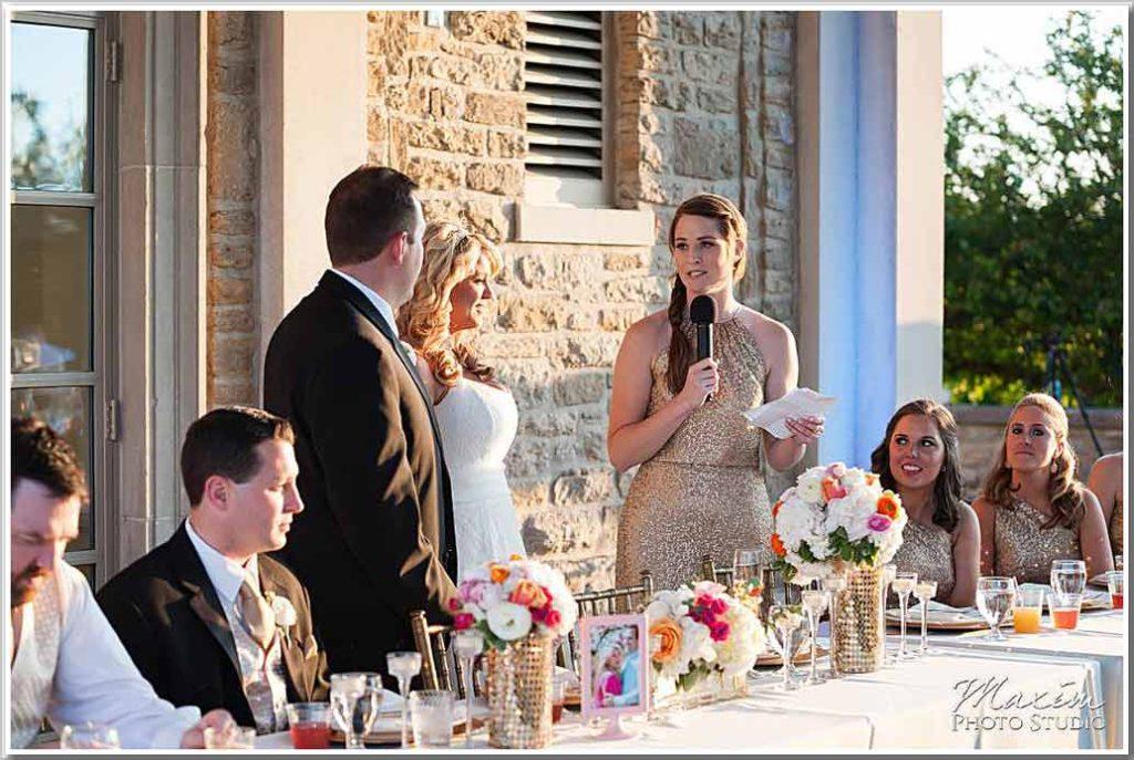 Ault Park Reception Toasts Bride