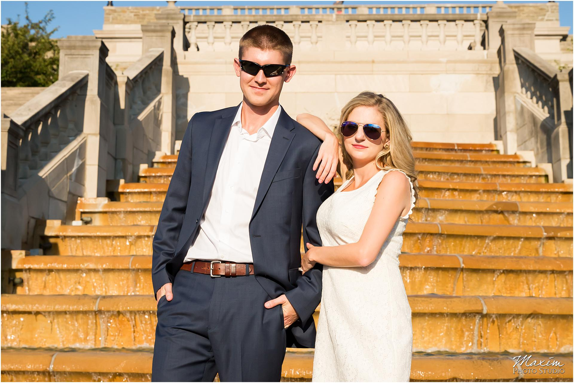 Ault Park Pavillion steps, engagement sunglasses