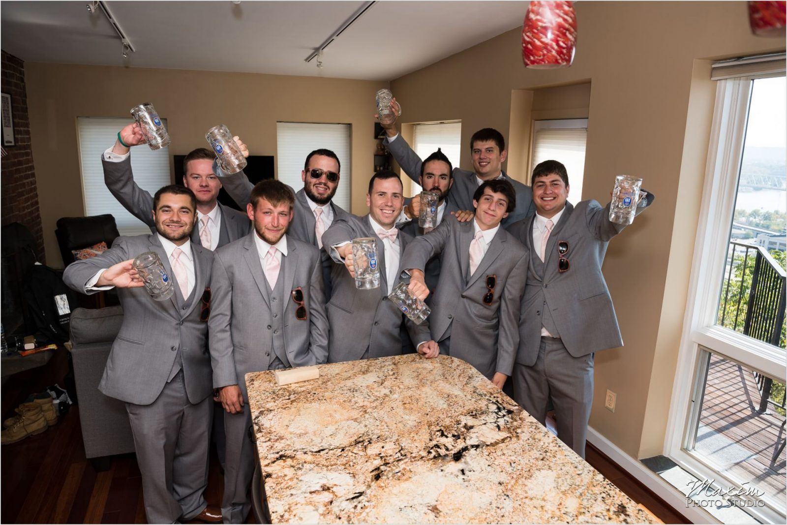 Drees Pavilion Groomsmen preparations