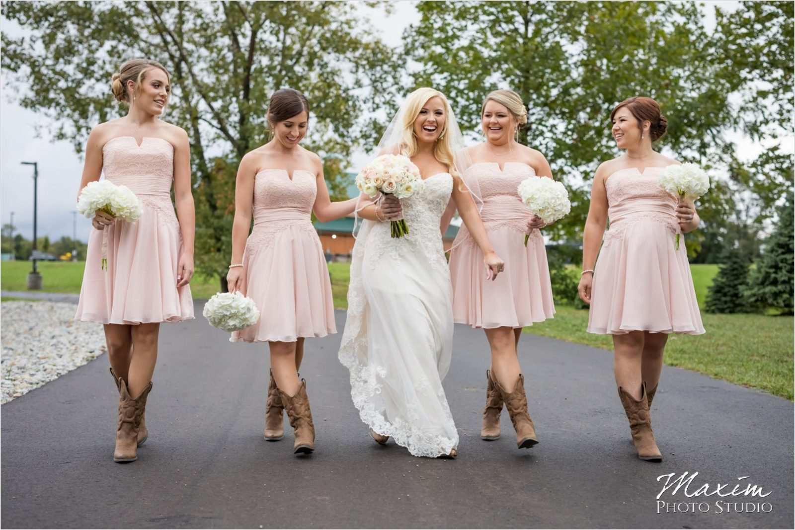 Bride Bridesmaids walking Rolling Meadows Ranch