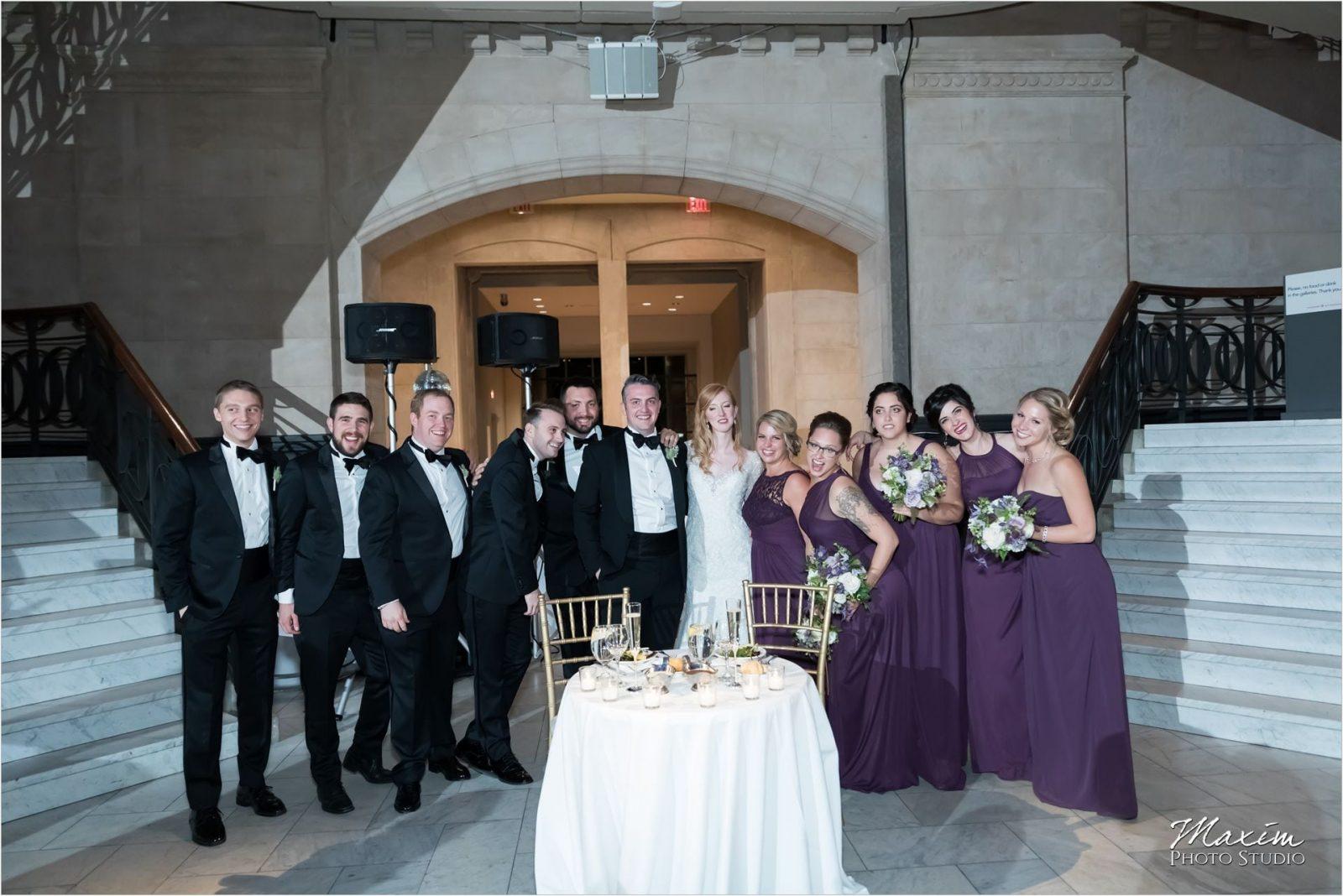 Cincinnati Wedding Photographers Art Museum bride groom reception bridal party