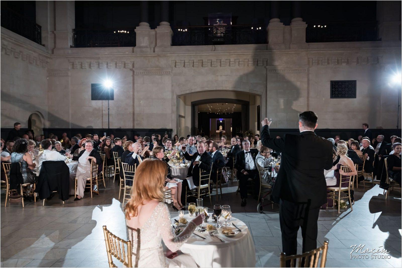 Cincinnati Wedding Photographers Art Museum bride groom reception toast