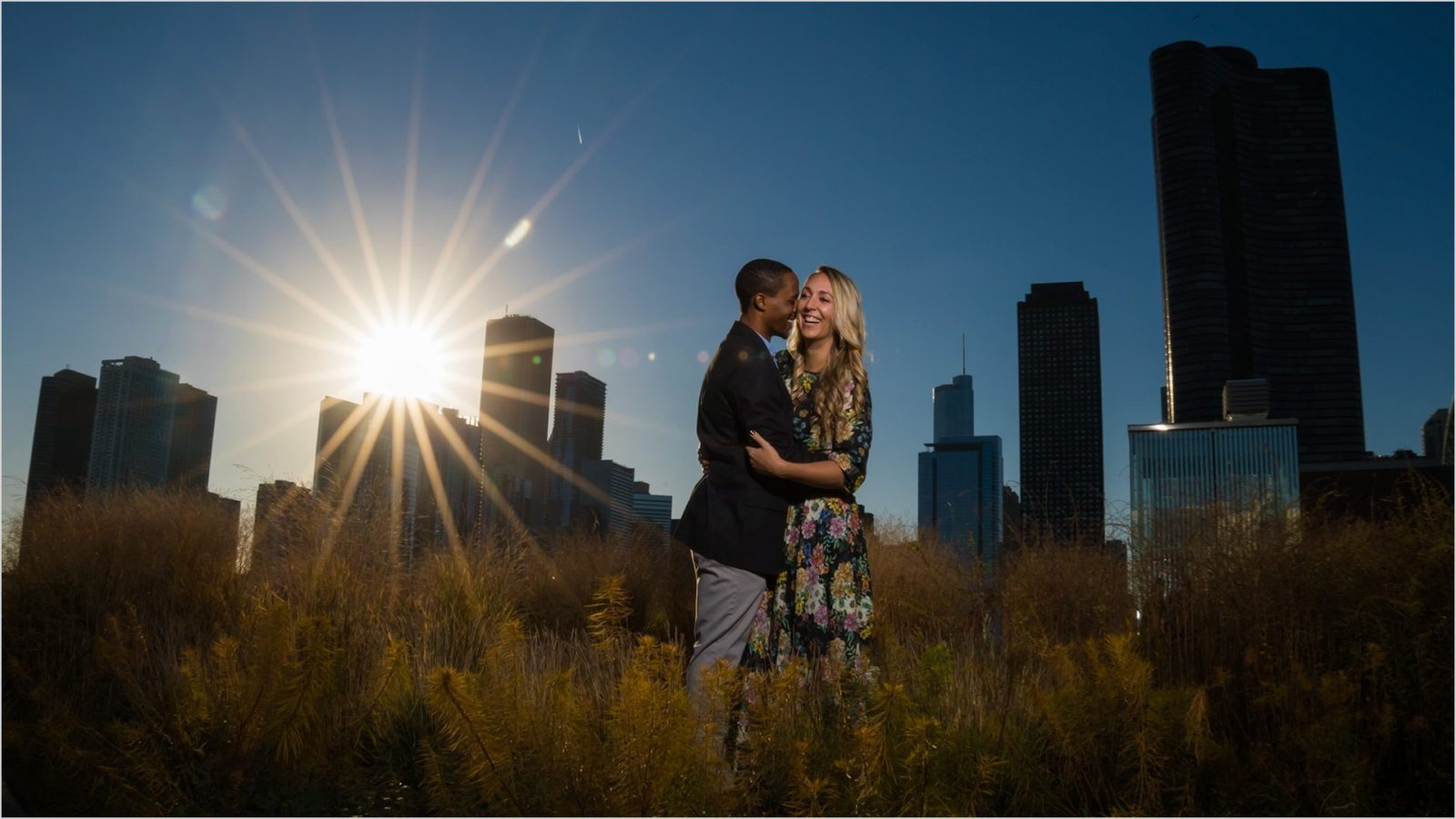 Downtown Chicago Navy Pier Fall engagement
