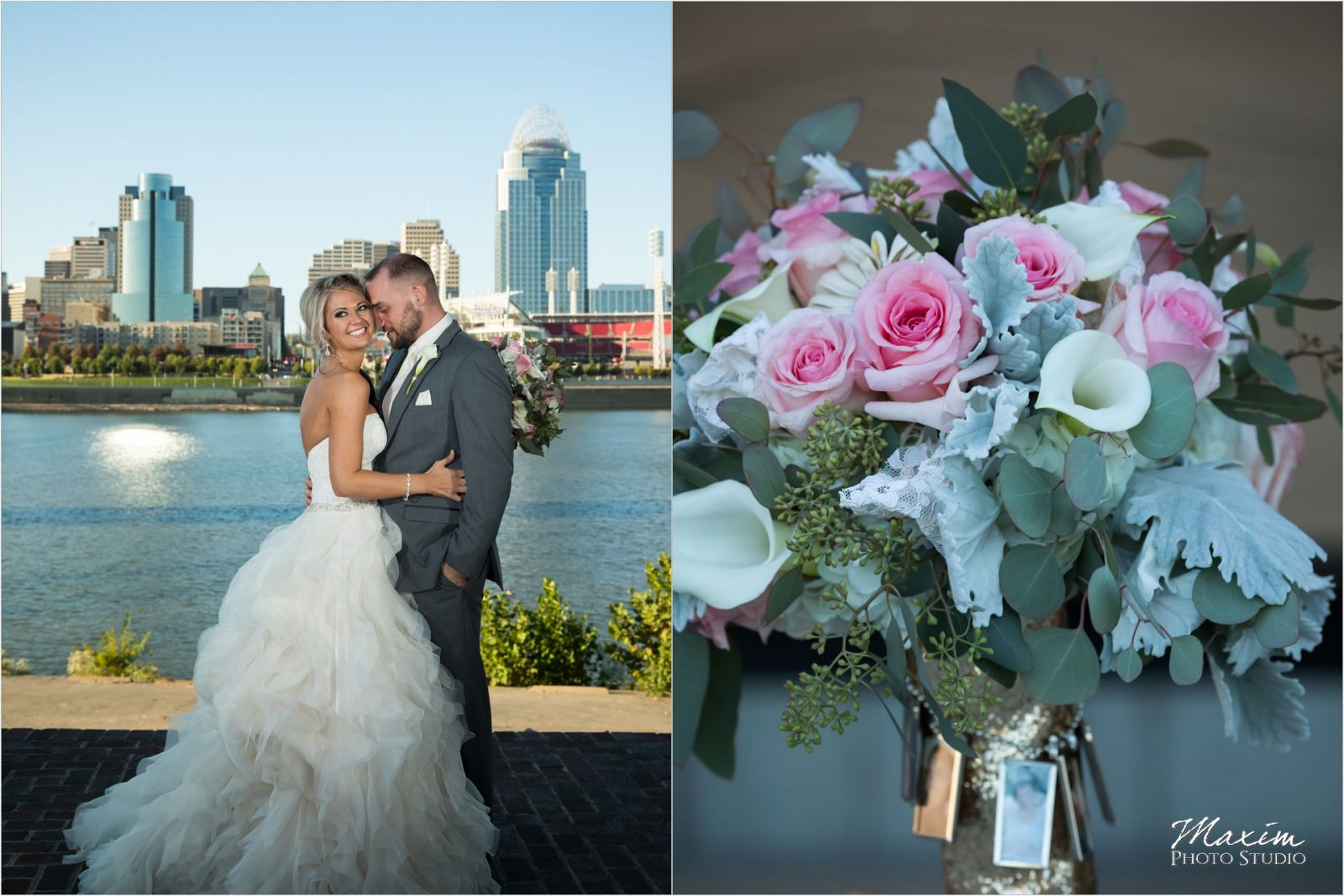 Cincinnati Skyline bride groom