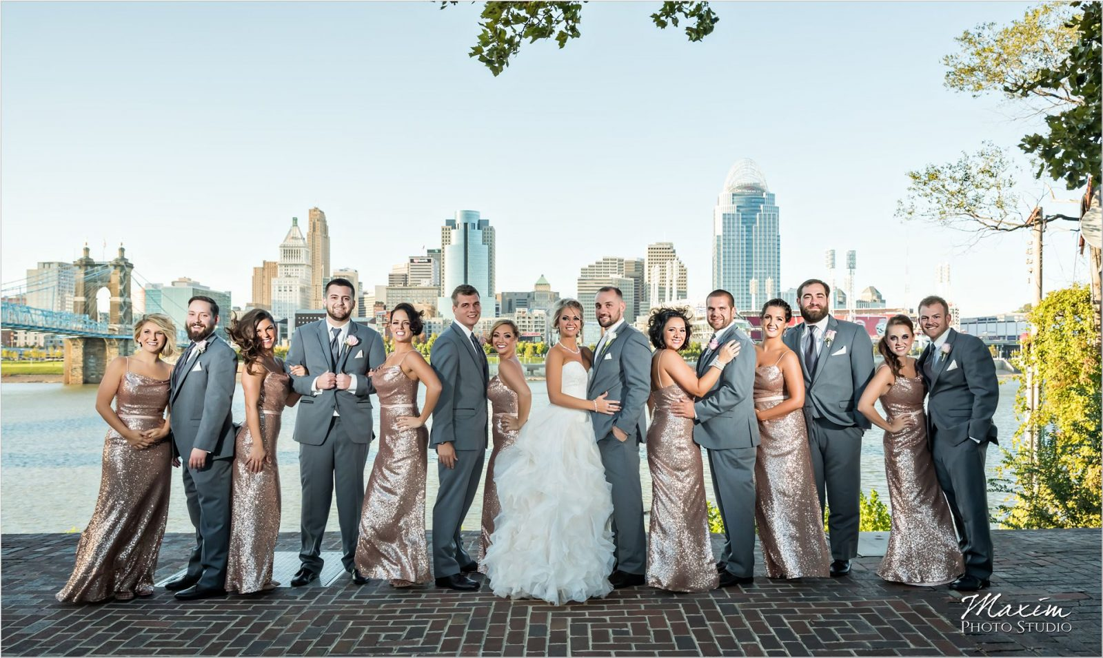 Cincinnati Skyline Wedding party