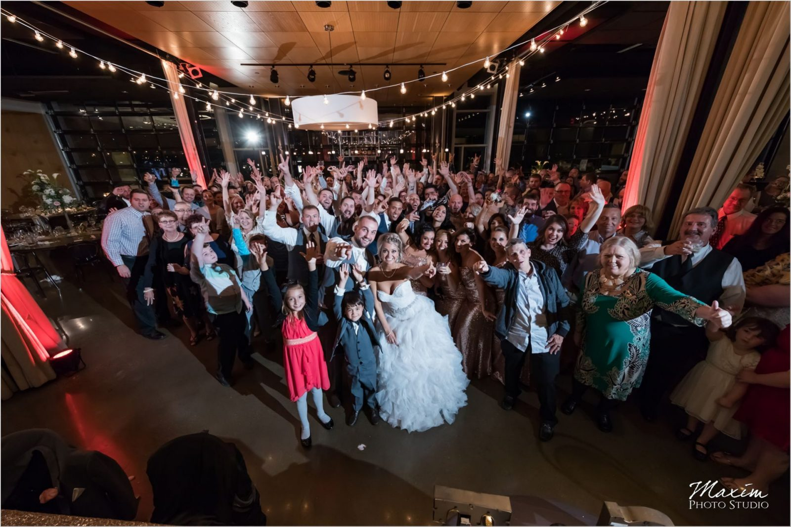 New Riff Brewery Kentucky Wedding reception group photo