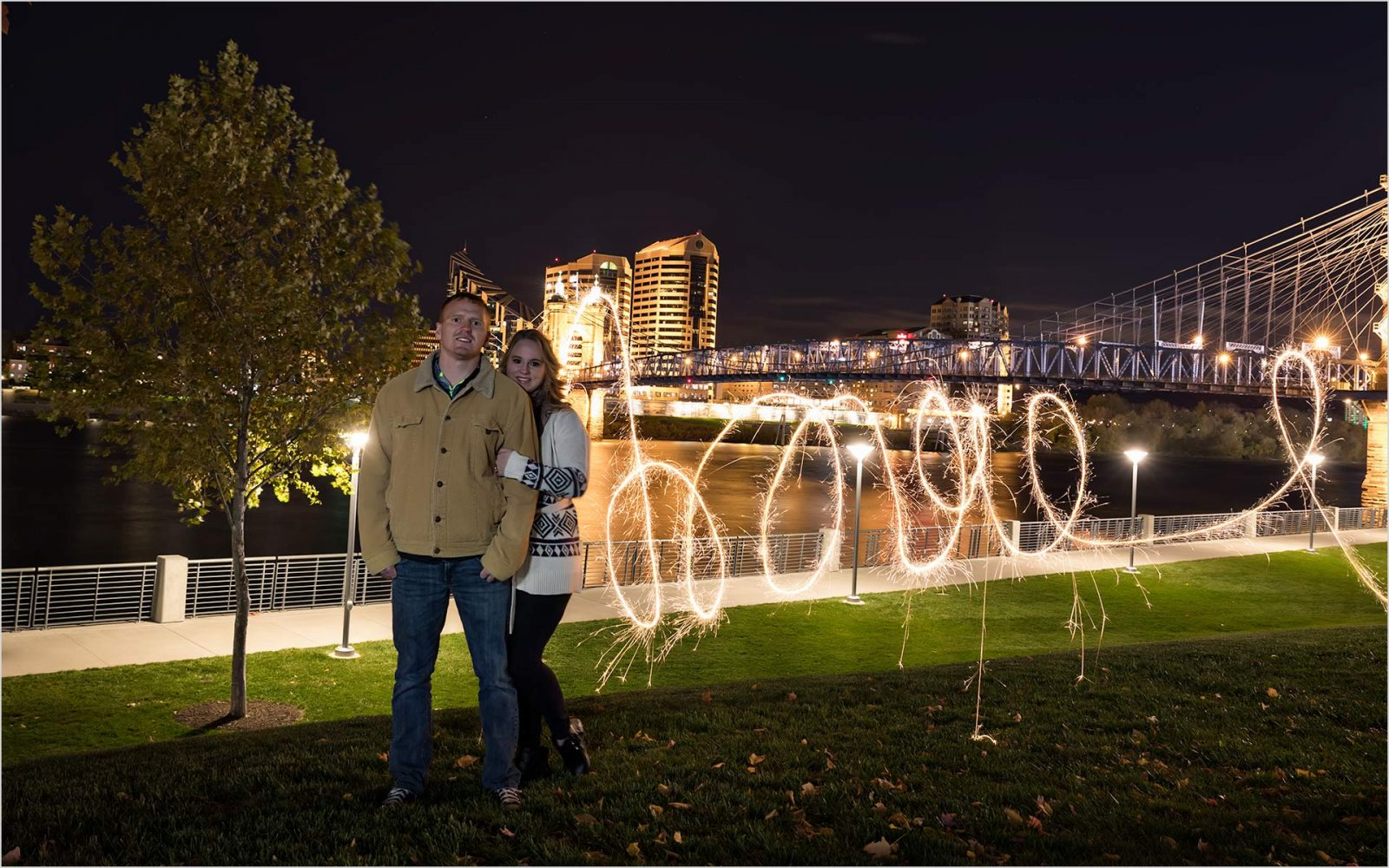 Roebling Bridge, Love Sparklers, Cincinnati Engagement