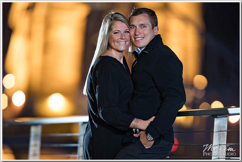 Roebling Bridge Night engagement photo