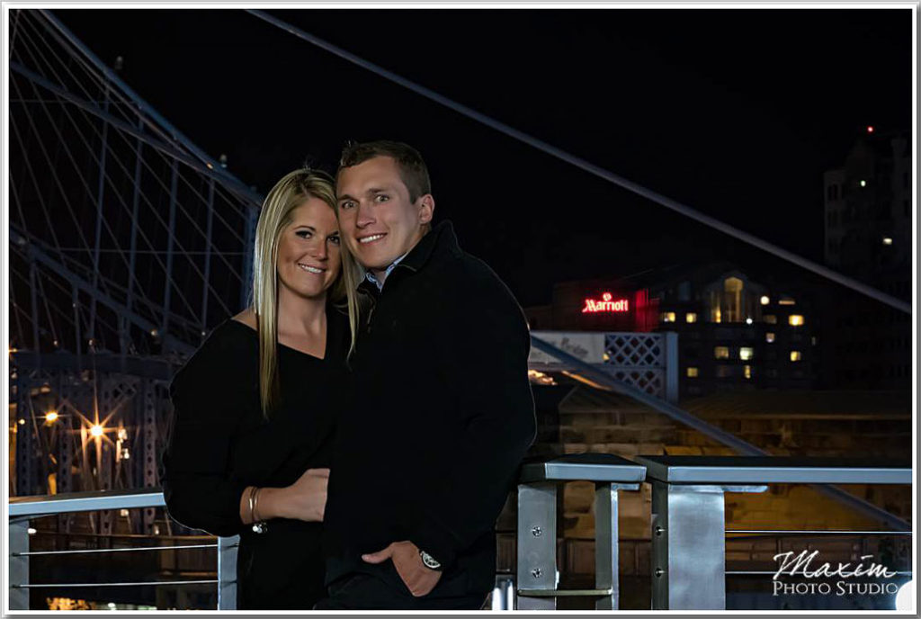 Smale Riverfront Park Night engagement photo