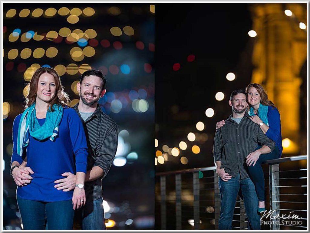 Nighttime Cincinnati Engagement