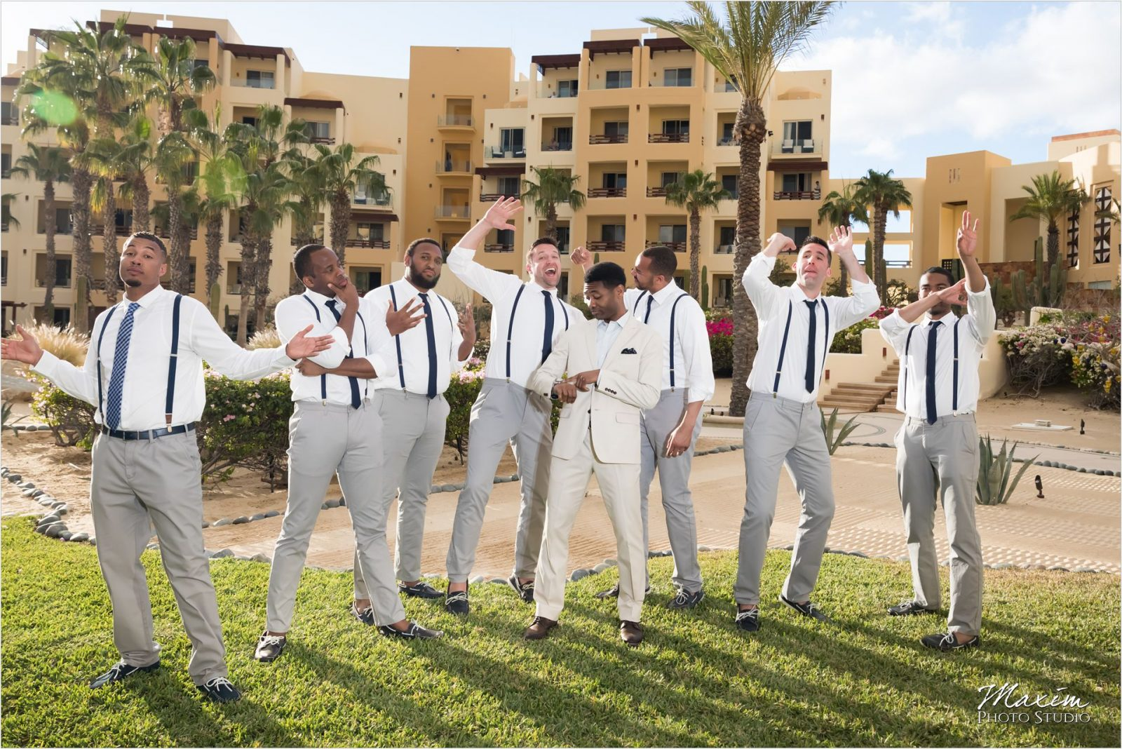 Pueblo Bonito Cabo Mexico Destination Wedding Portraits Groomsmen