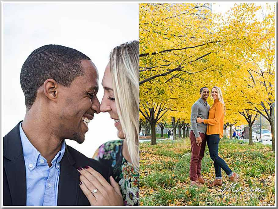 Fall Chicago engagement Navy Pier