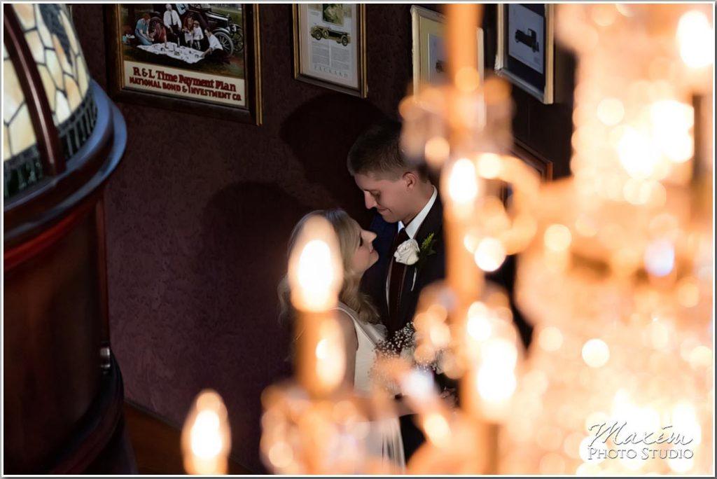Carlo and Johnny Restaurant Wedding chandelier