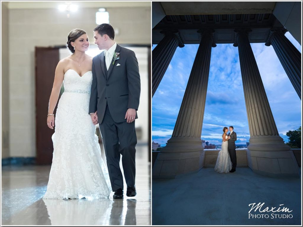 Dayton Masonic Temple Center Wedding bride groom pictures