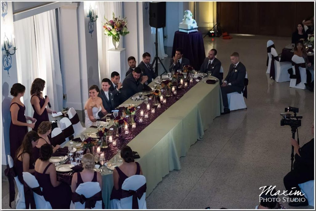 Wedding reception toast Dayton Masonic Temple picture
