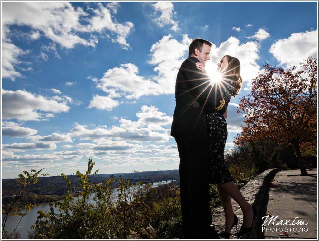 Eden Park Cincinnati Engagement sun burst