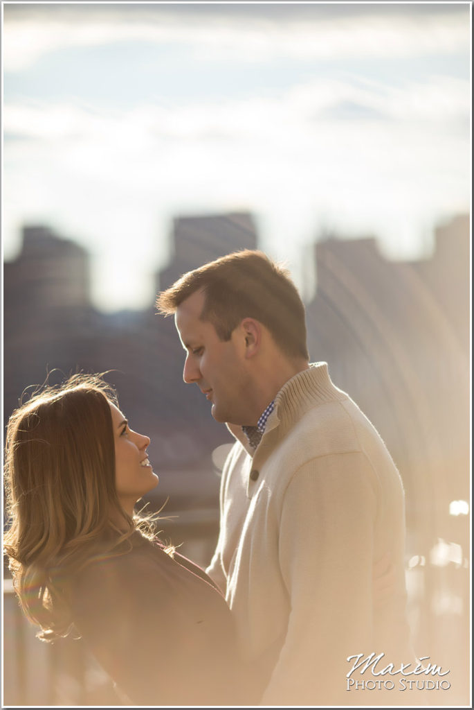 Mt. Adams Cincinnati skyline engagement