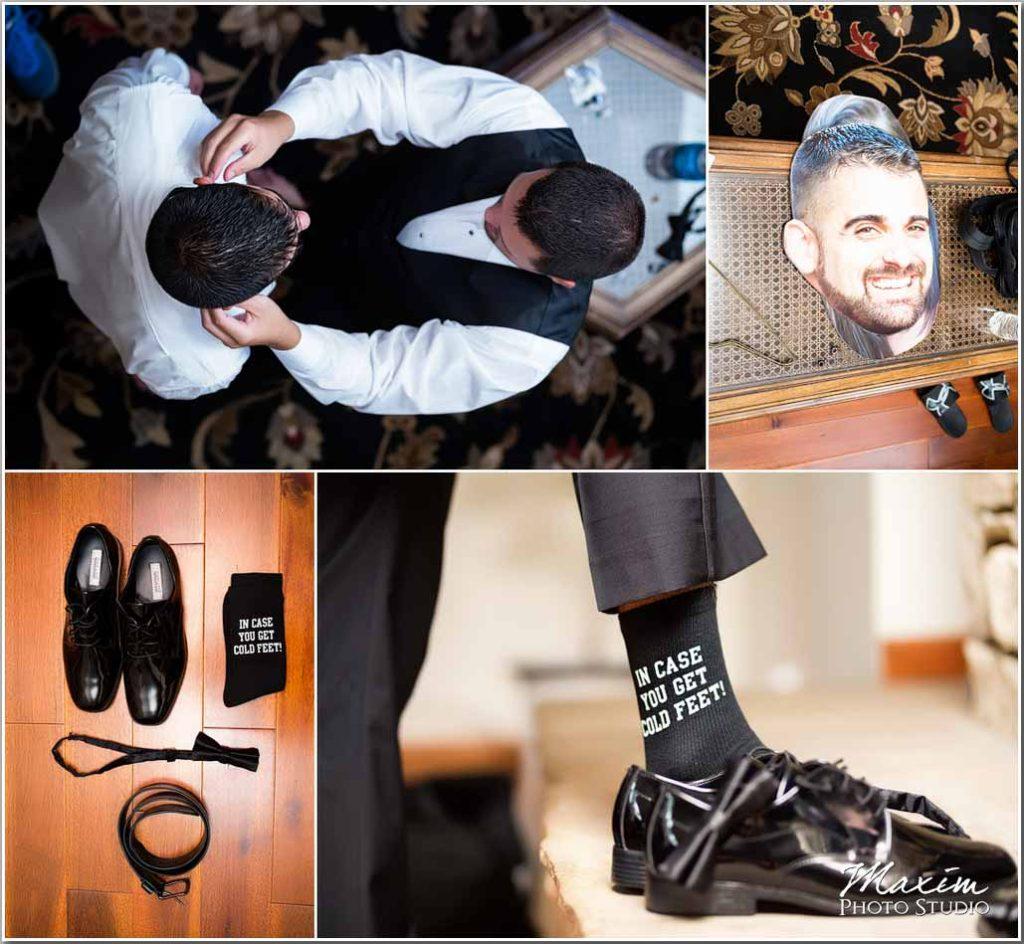 Groom Drees pavilion wedding preparation