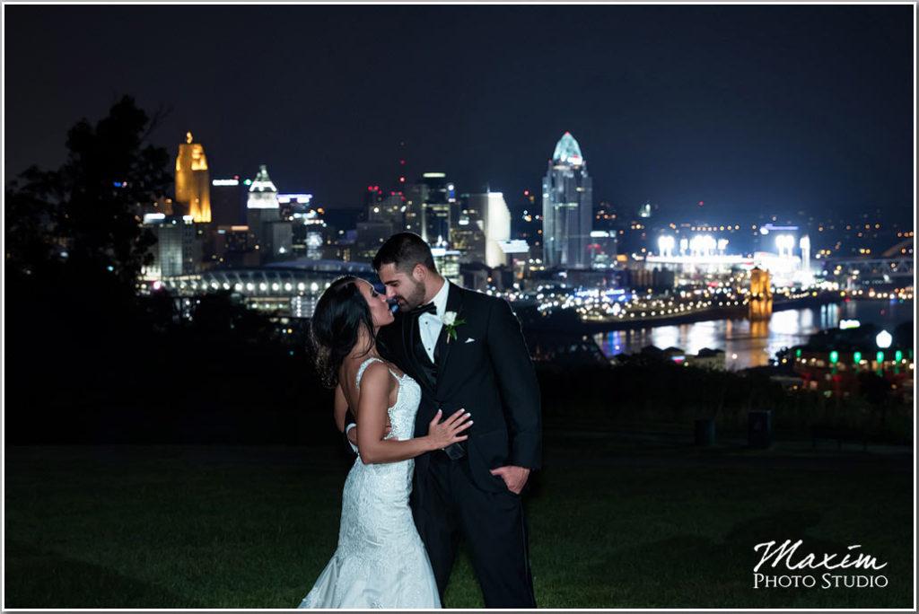 Bride groom Drees pavilion Wedding cincinnati skyline