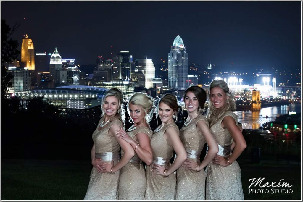 Cincinnati skyline bridesmaids drees pavilion