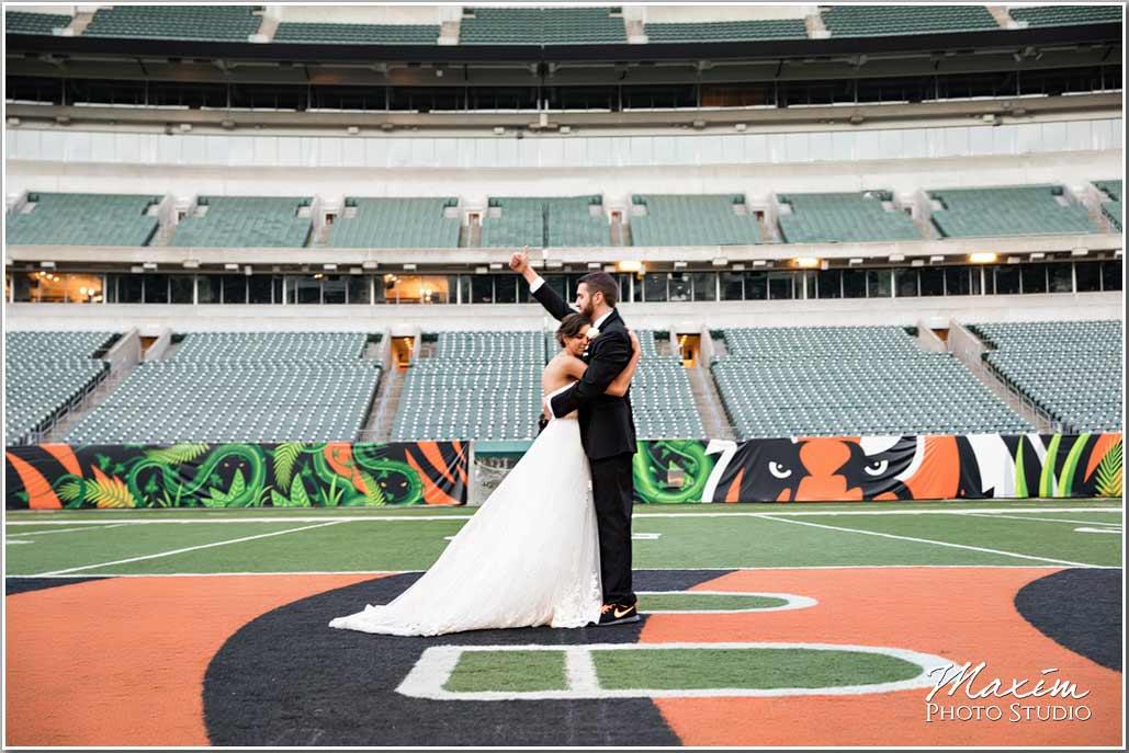Paul Brown Stadium field Bride groom picture