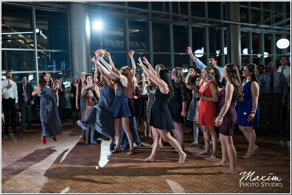 Paul Brown Stadium Wedding Reception bouquet toss