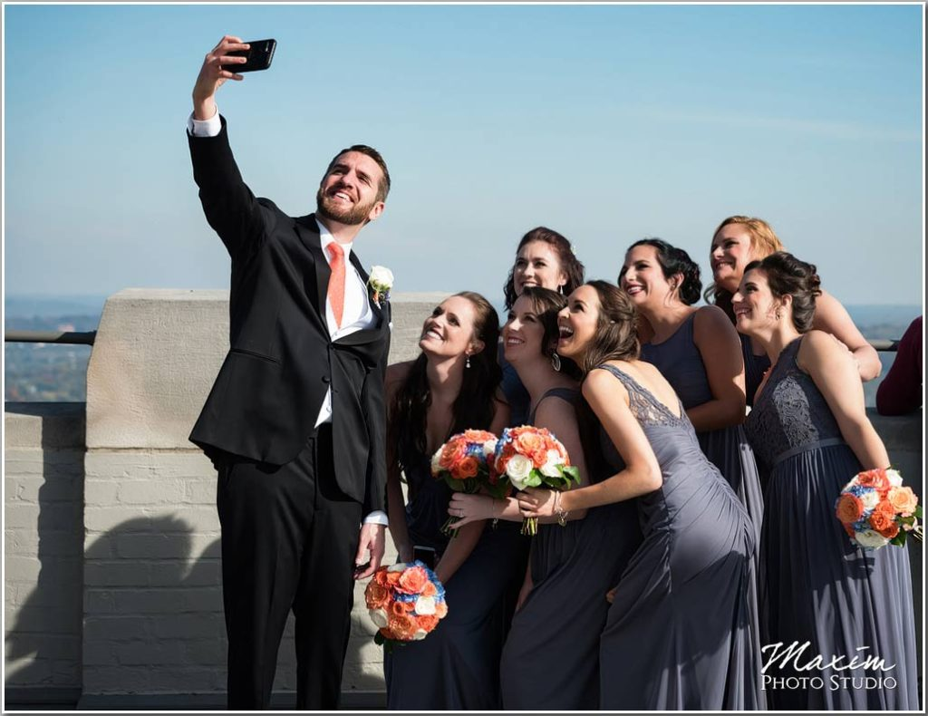 Groom Carew Tower Cincinnati selfie