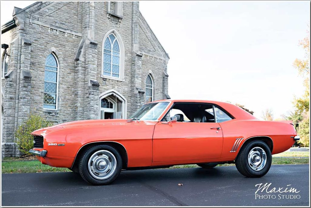 St. Aloysius Chapel Cincinnati Wedding red camaro