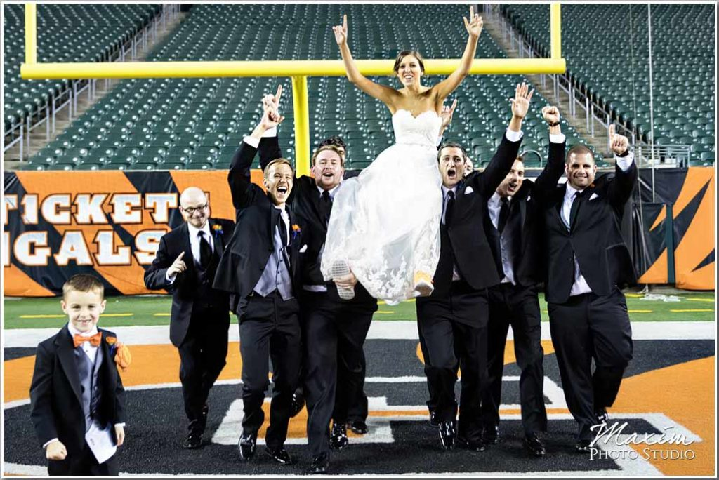 Cincinnati Bengals Paul Brown Stadium Wedding Bride