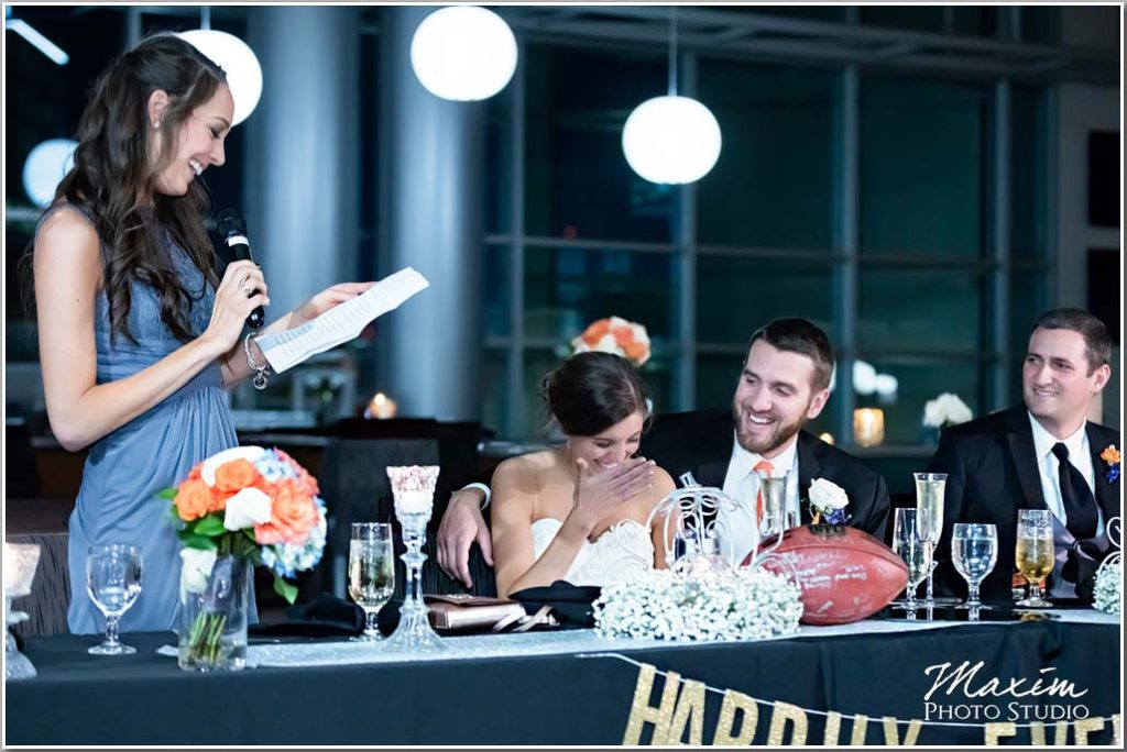 Paul Brown Stadium Cincinnati wedding reception bride toast