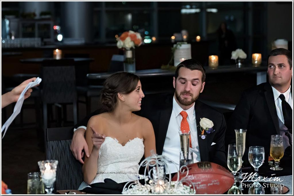 Paul Brown Stadium Cincinnati wedding reception groom crying