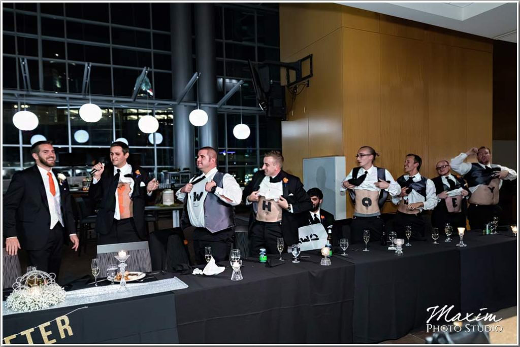 Paul Brown Stadium Cincinnati wedding reception groomsmen toast