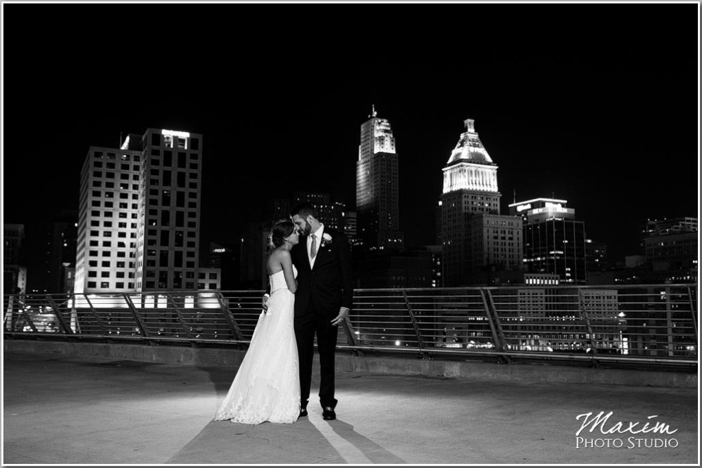 Paul Brown Stadium Wedding Cincinnati skyline