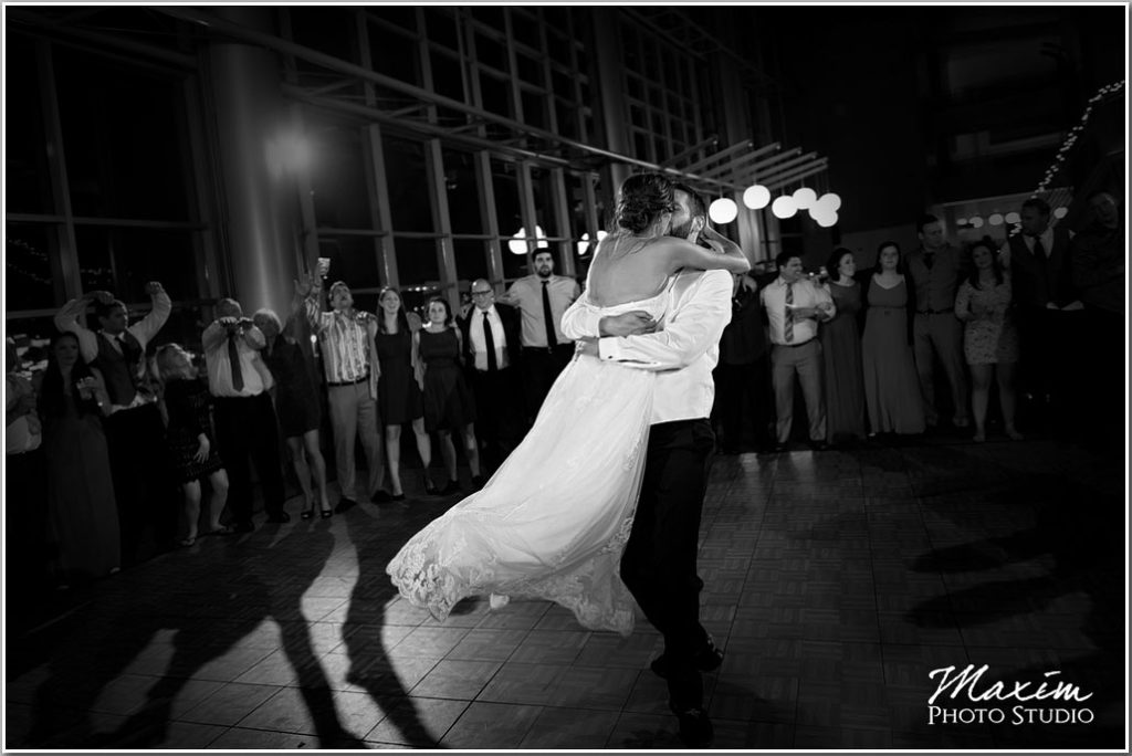 Paul Brown Stadium Cincinnati Wedding reception bride groom