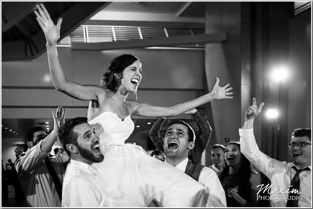 Paul Brown Stadium Cincinnati Wedding reception bride dance