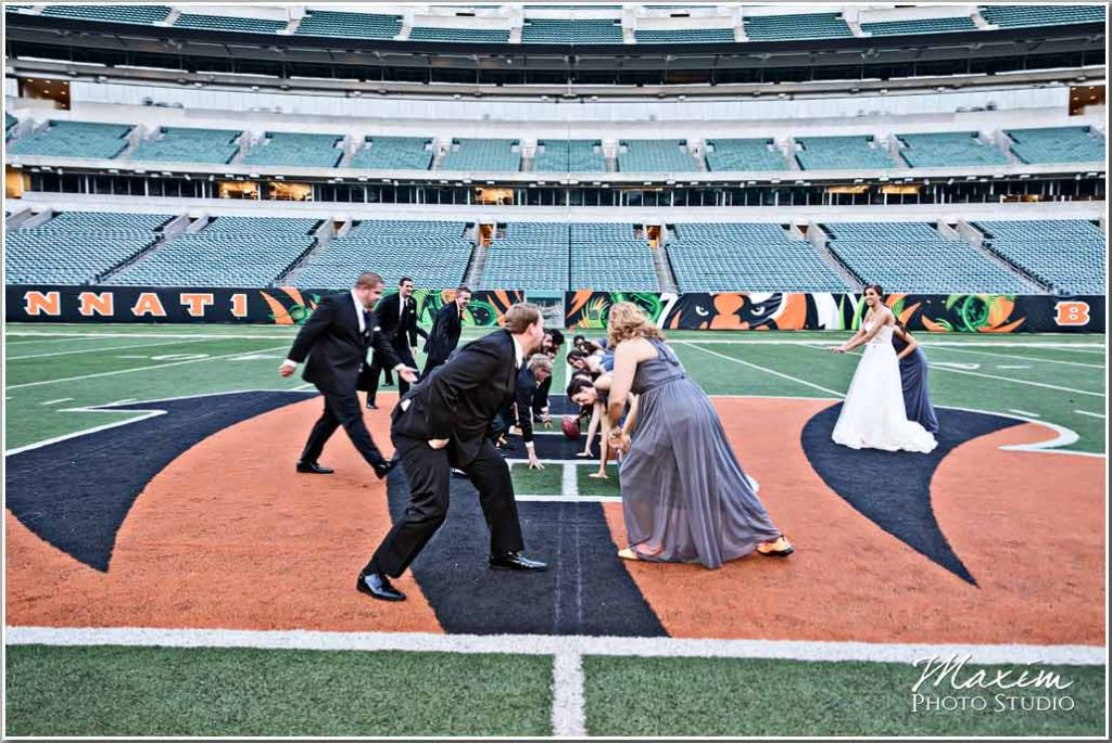 Paul Brown Stadium field Bride groom picture