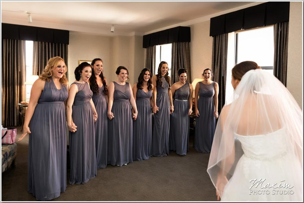 Hilton Netherland Plaza wedding bride first look