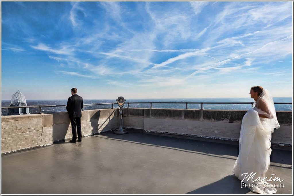 Carew Tower Wedding first look