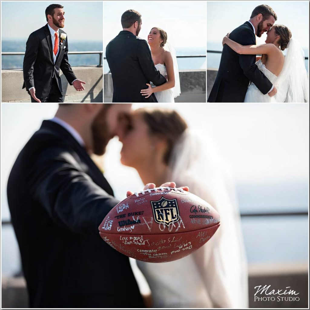 Carew Tower Wedding first look football