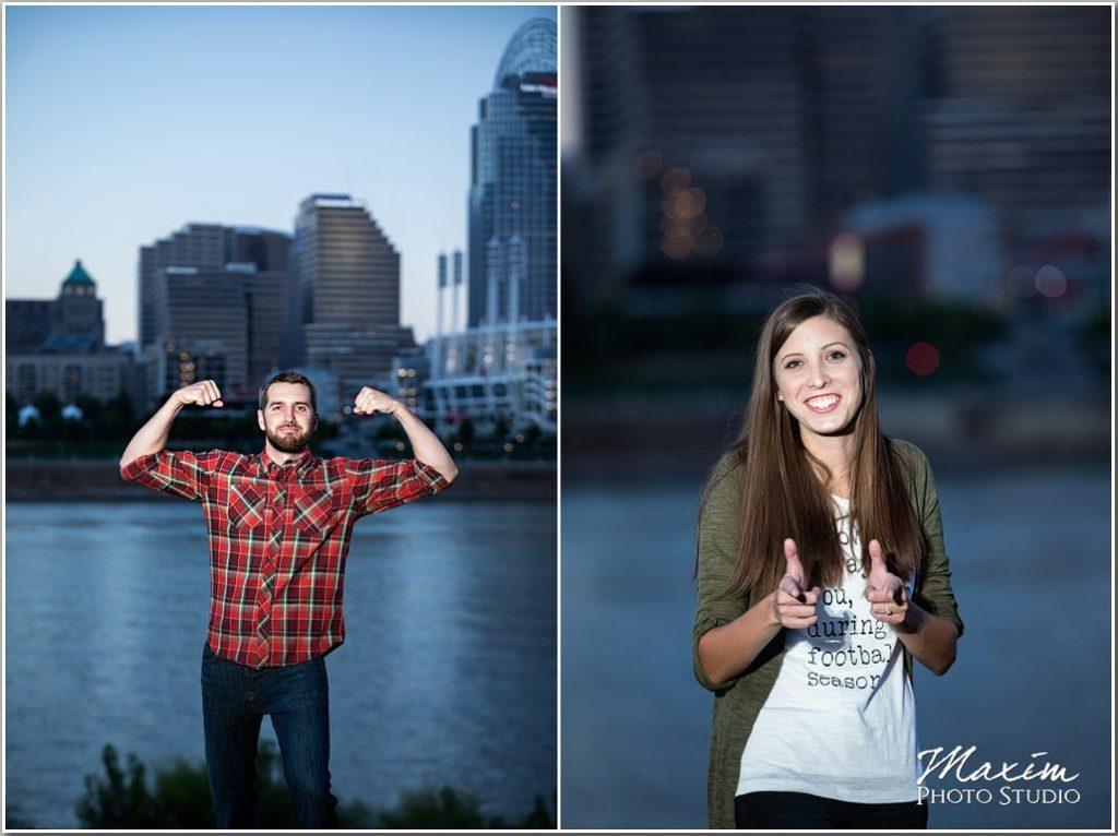 Couples engagement cincinnati skyline photography