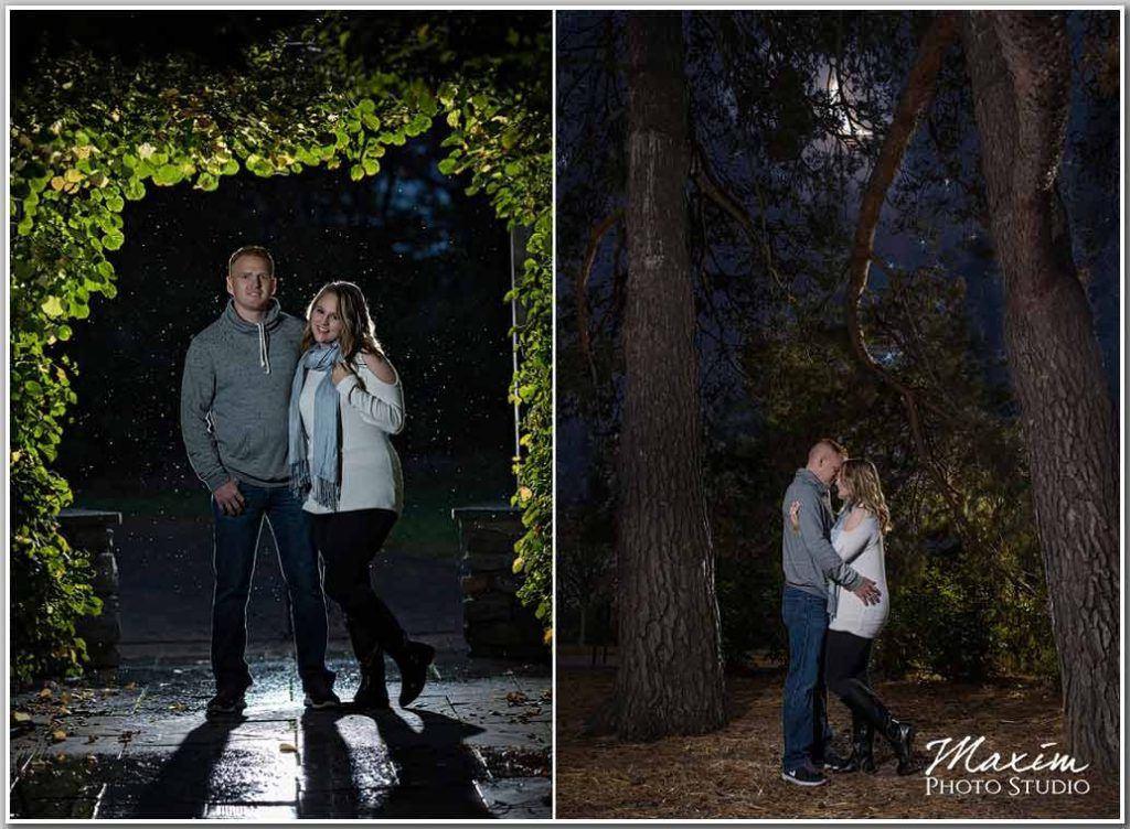 Glenwood Gardens engagement night photography